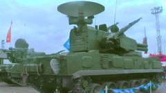 Antiaircraft gun missile system 2S6M1 Tunguska M1 Stock Footage