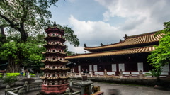 The pagoda and the main hall in Guangxiao Temple, Guangdong province, China - stock footage