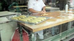 Sourdough bread making demonstration Stock Footage