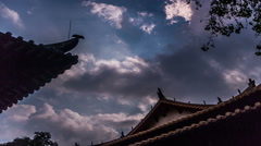 The cloudscape and the roof in Guangxiao Temple, Guangdong province, China - stock footage