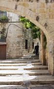 The streets of Old Jaffa - stock photo