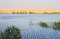 Reservoir in the Arava desert Stock Photos
