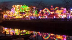 Fair, carnival with canal Stock Footage
