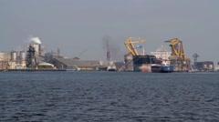 Harbor ship unloading - stock footage