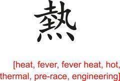 Chinese Sign for heat, fever, hot, thermal,pre-race,engineering Stock Illustration