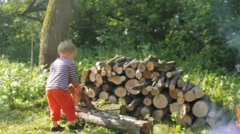Boys stacking firewood on a sunny day Stock Footage
