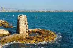 Remains of fortress walls of the Acre Stock Photos