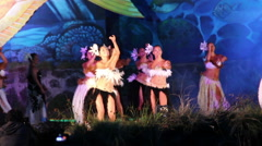 Dancers at the Tapati festival in the evening Stock Footage