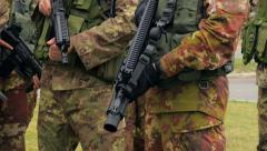 Soldiers close-up, training, Grosseto, Italy, 4k Stock Footage