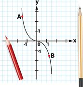 vector pencils and mathematical function graph - stock illustration