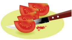 vector tomato slices and kitchen knife - stock illustration