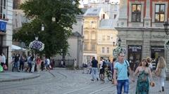 Architecture of Lviv, Ukraine Stock Footage