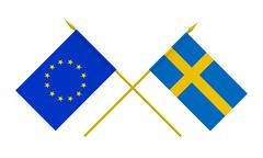 flags, sweden and european union - stock illustration