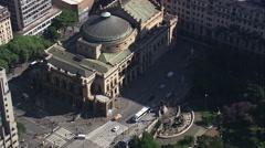 Aerial Brazil- Teatro Municipal - Municipal Theatre, So Paulo, Stock Footage