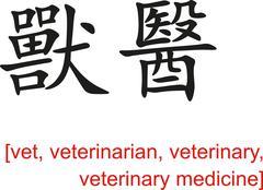 Chinese Sign for vet, veterinarian, veterinary Stock Illustration