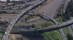 Aerial Brazil- Heavy traffic in So Paulo, So Paulo, Stock Footage
