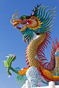 many big dragons are color , a city is Nakolsawun, Thailand - stock photo