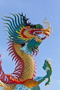 Many big dragons are color , a city is Nakolsawun, Thailand Stock Photos