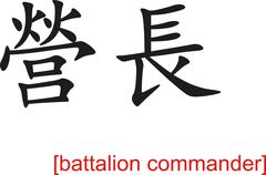 Chinese Sign for battalion commander - stock illustration