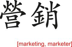 Chinese Sign for marketing, marketer Stock Illustration