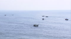 Aerial Brazil- Small fishing boats off Superagui, Paranagu, Stock Footage
