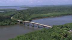 Aerial Brazil- Bridge to Ilha Cananeia, Canan_ia, Stock Footage