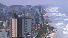 Aerial Brazil- Mongagua beach and resort, Mongagu, Stock Footage