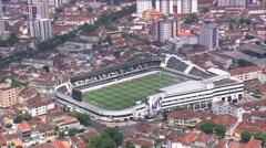 Aerial Brazil- Estadio Ulrico Mursa, Santos, Stock Footage