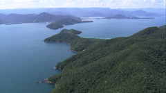 Aerial Brazil- Ilha Anchieta, Ubatuba, Stock Footage