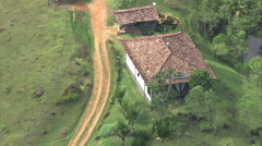 Aerial Brazil- Typical ian farmhouse dwelling, Paraty, Stock Footage