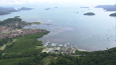 Aerial Brazil- beautiful costal town of Parati, Brazil - stock footage