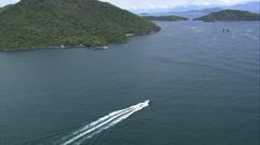 Aerial Brazil- Ilha Grande - speedboat, Angra dos Reis, Stock Footage