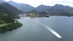 Aerial Brazil- Jacuecanga Port, Angra dos Reis, - stock footage