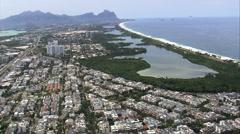 Aerial Brazil- Barra da Tijuca, Rio de Janeiro, Stock Footage