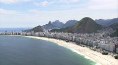 Aerial Brazil- Copacabana beach, Rio de Janeiro, Brazil Stock Footage