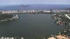 Aerial Brazil- Lagoa Rodrigo de Freitas, Rio de Janeiro, Stock Footage