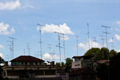 TV antennas mounted on a roof Stock Photos