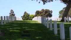 Headstones in Veteran Cemetery Stock Footage