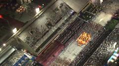 Aerial Brazil- Rio Carnival Parade at the Sambadromo, Rio de Janeiro, Stock Footage