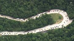 Aerial Brazil- Traffic on the Santos Dumont Road, Guapimirim, Stock Footage