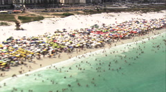 Aerial Brazil- Cabo Frio crowded beach, Cabo Frio, Stock Footage