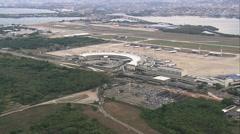 Aerial Brazil- Rio de Janeiro International Airport, Rio de Janeiro, Stock Footage