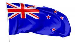 Flag of New Zealand on flagpole Stock Footage