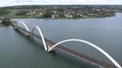 Aerial Brazil- Juscelino Kubitschek Bridge, Brasilia, Stock Footage