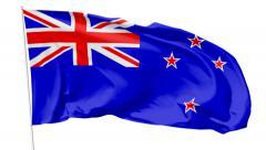 Flag of New Zealand on flagpole - stock footage