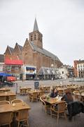 amersfoort, netherlands, june 3 2014: joriskerk and hof with people on terrac - stock photo