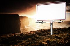 White billboard and cliffs of moher at sunset Stock Illustration