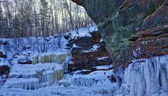 Colorful Icy Cliffs - Frozen Lake Superior Winter Stock Photos