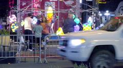 4K UHD  street vendor sidewalk pan to female cops on corner Stock Footage