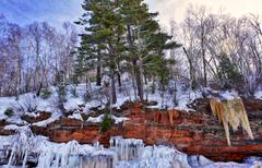 Apostle Islands Sea Caves - Frozen Lake Superior Winter Stock Photos